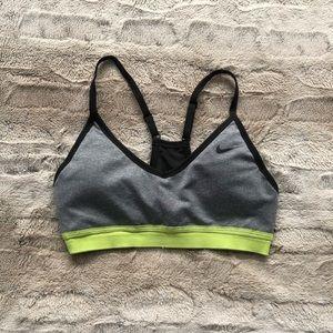 Nike sports bra, grey and neon green